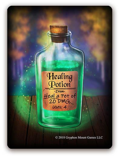 Familiar Item cards, healing potion