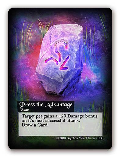 Familiar Rune Cards, Press the advantage