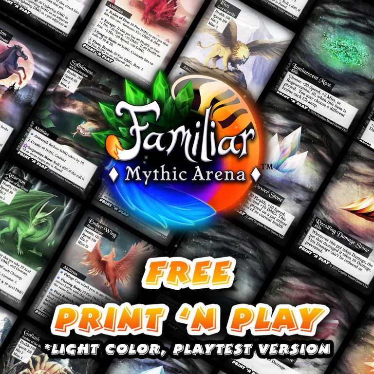 Familiar Mythic Arena free print and play