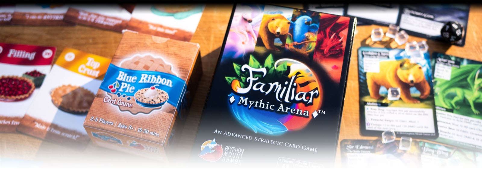 Familiar Mythic Arena and Blue Ribbon Pie card games